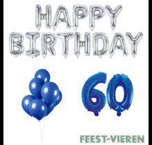 60 jaar Verjaardag Versiering Ballon Pakket Blauw & zilver