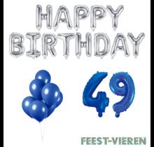 49 jaar Verjaardag Versiering Ballon Pakket Blauw & zilver