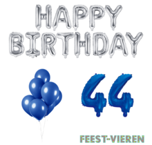 44 jaar Verjaardag Versiering Ballon Pakket Blauw & zilver