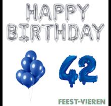 42 jaar Verjaardag Versiering Ballon Pakket Blauw & zilver