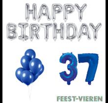 37 jaar Verjaardag Versiering Ballon Pakket Blauw & zilver