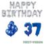 Feest-vieren 37 jaar Verjaardag Versiering Ballon Pakket Blauw & zilver