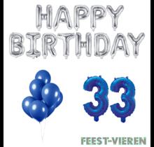 33 jaar Verjaardag Versiering Ballon Pakket Blauw & zilver