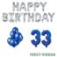 Feest-vieren 33 jaar Verjaardag Versiering Ballon Pakket Blauw & zilver