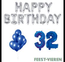 32 jaar Verjaardag Versiering Ballon Pakket Blauw & zilver