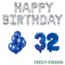 Feest-vieren 32 jaar Verjaardag Versiering Ballon Pakket Blauw & zilver