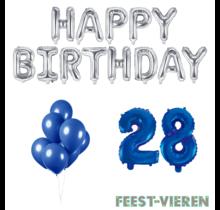 28 jaar Verjaardag Versiering Ballon Pakket Blauw & zilver