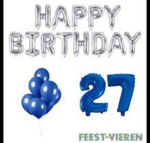 27 jaar Verjaardag Versiering Ballon Pakket Blauw & zilver