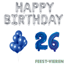 26 jaar Verjaardag Versiering Ballon Pakket Blauw & zilver