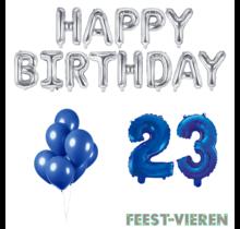23 jaar Verjaardag Versiering Ballon Pakket Blauw & zilver