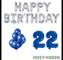 22 jaar Verjaardag Versiering Ballon Pakket Blauw & zilver