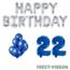 Feest-vieren 22 jaar Verjaardag Versiering Ballon Pakket Blauw & zilver