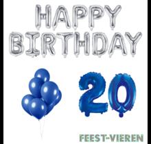 20 jaar Verjaardag Versiering Ballon Pakket Blauw & zilver