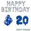 Feest-vieren 20 jaar Verjaardag Versiering Ballon Pakket Blauw & zilver