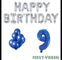 9 jaar Verjaardag Versiering Ballon Pakket Blauw & zilver
