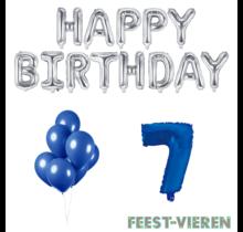 7 jaar Verjaardag Versiering Ballon Pakket Blauw & zilver