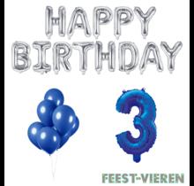 3 jaar Verjaardag Versiering Ballon Pakket Blauw & zilver