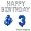 Feest-vieren 3 jaar Verjaardag Versiering Ballon Pakket Blauw & zilver