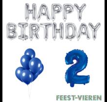 2 jaar Verjaardag Versiering Ballon Pakket Blauw & zilver