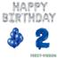 Feest-vieren 2 jaar Verjaardag Versiering Ballon Pakket Blauw & zilver