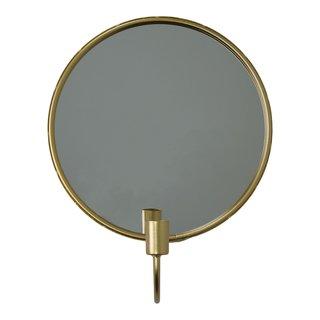 Kaarsenhouder rond met spiegel - Goud
