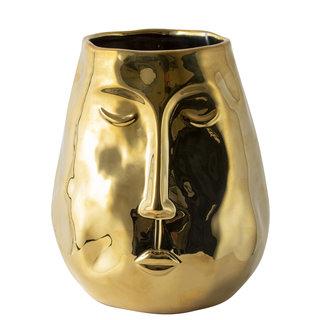 Gouden Vaas Met Gezicht H19,5cm