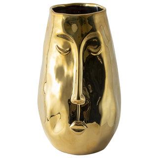 Gouden Vaas Met Gezicht H24,5cm
