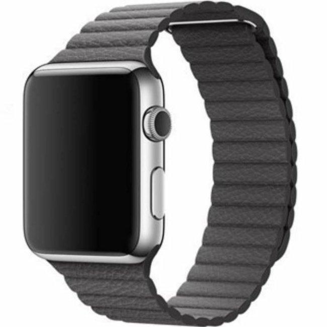 Marque 123watches Apple Watch bande de cuir côtelé - gris
