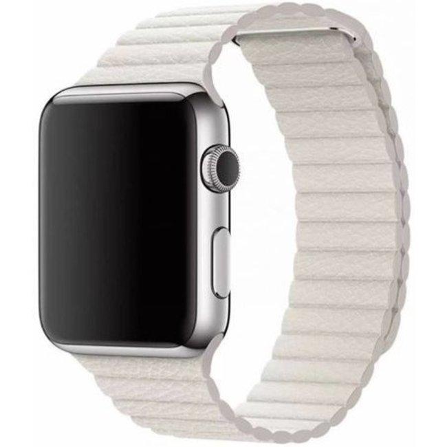 Marque 123watches Apple Watch bande de cuir côtelé - blanc