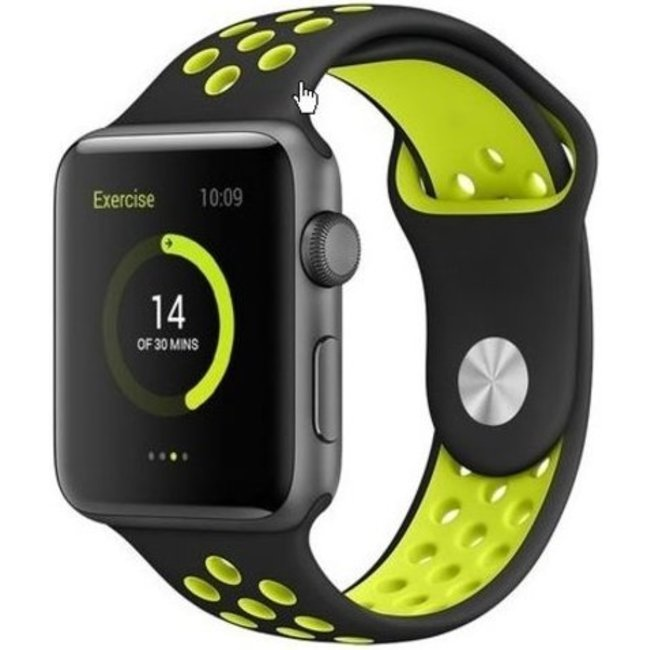 Marque 123watches Apple Watch double sport sangle - noir jaune