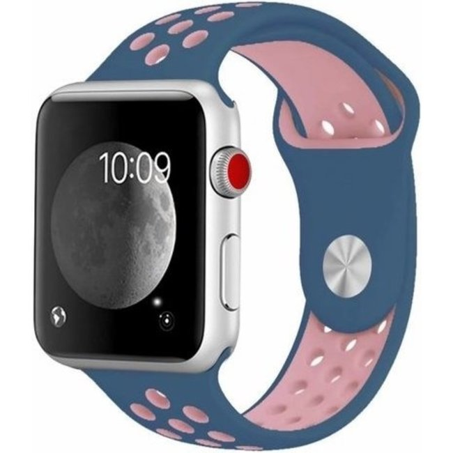 Marque 123watches Apple Watch double sport sangle - bleu rose