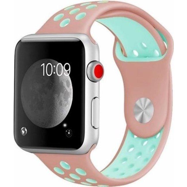Marque 123watches Apple Watch double sport sangle - rose bleu clair