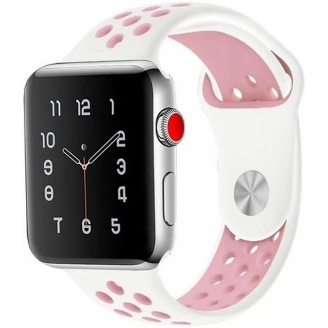 Marque 123watches Apple Watch double sport sangle - blanc rose