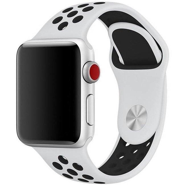 Marque 123watches Apple Watch double sport sangle - blanc noir