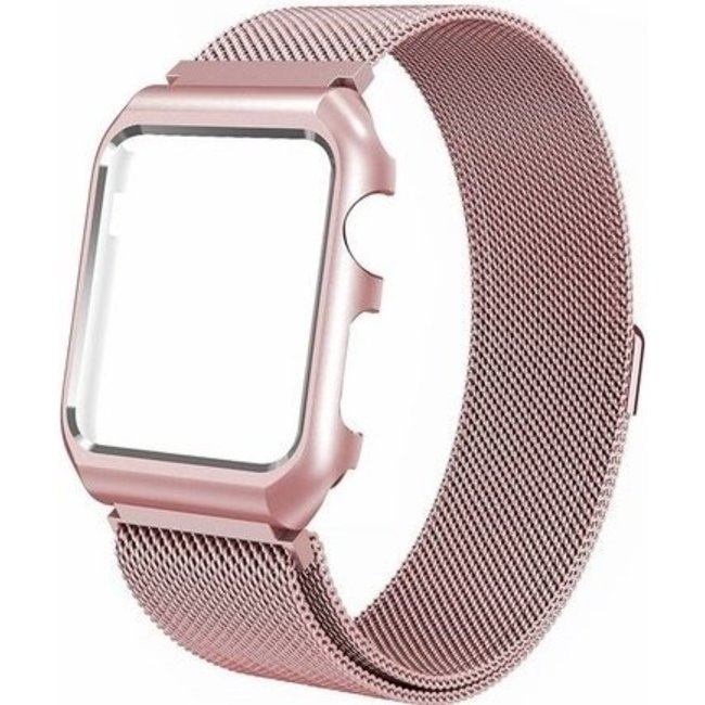 Marque 123watches Apple watch milanese case band - or rose