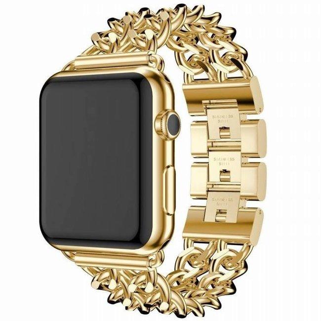 Marque 123watches Apple Watch maillon de cow-boy en acier - or