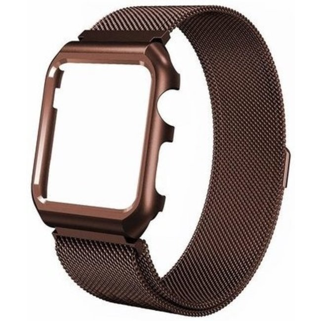 Marque 123watches Apple watch milanese case band - marron