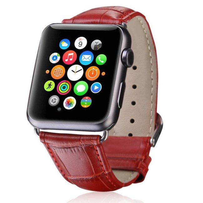 Marque 123watches Apple watch cuir crocodiles band - rouge