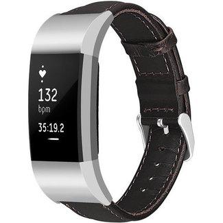 Marque 123watches Fitbit charge 2 bracelet en cuir véritable - marron foncé