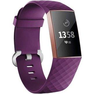 Marque 123watches Fitbit charge 3 & 4 bande de gaufres sport - violet foncé