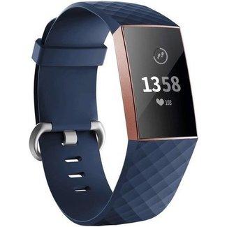 Marque 123watches Fitbit charge 3 & 4 bande de gaufres sport - bleu foncé
