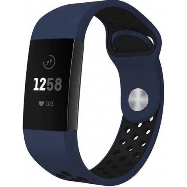 Marque 123watches Fitbit charge 3 & 4 bracelet sportif  - bleu foncé noir