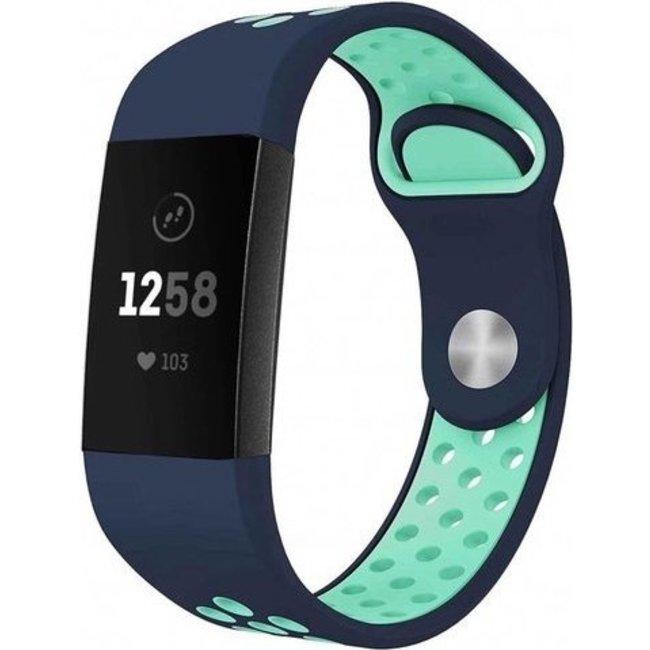 Marque 123watches Fitbit charge 3 & 4 bracelet sportif  - bleu foncé bleu clair