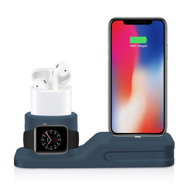 Apple watch silicone 3 in 1 dock - bleu foncé