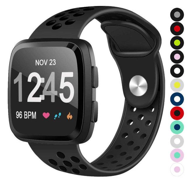 Marque 123watches Fitbit versa double sport sangle - noir noir