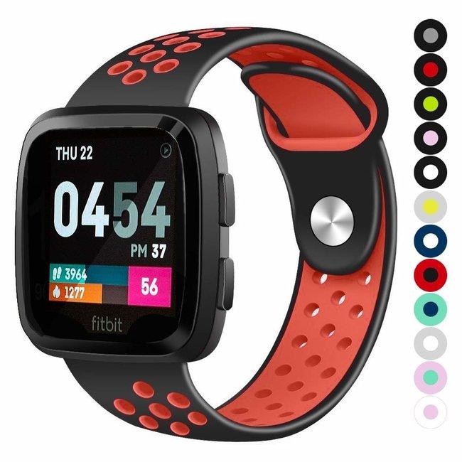 Marque 123watches Fitbit versa double sport sangle - noir rouge