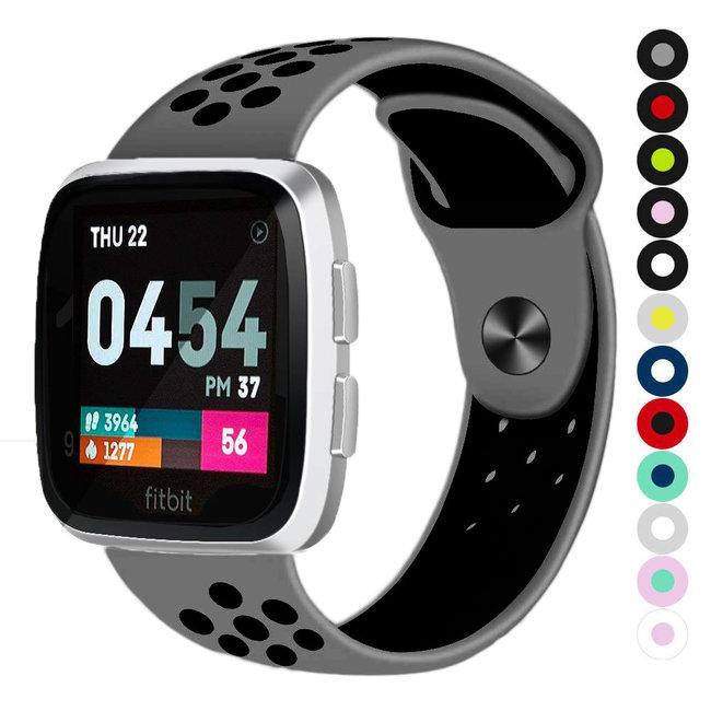 Marque 123watches Fitbit versa double sport sangle - gris noir