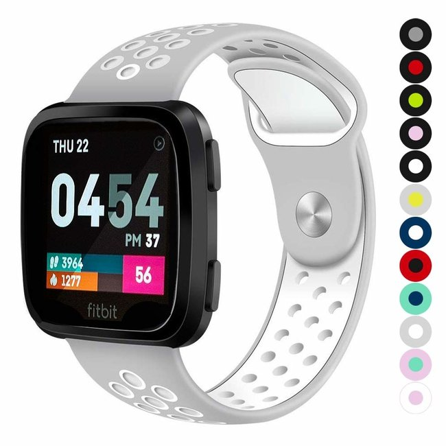 Marque 123watches Fitbit versa double sport sangle - gris blanc