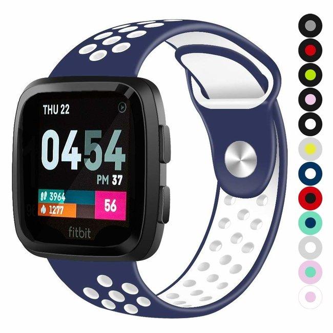 Marque 123watches Fitbit versa doppelt sport band - bleu foncé blanc