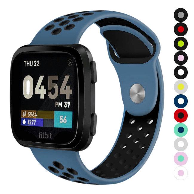Marque 123watches Fitbit versa doppelt sport band - bleu foncé noir